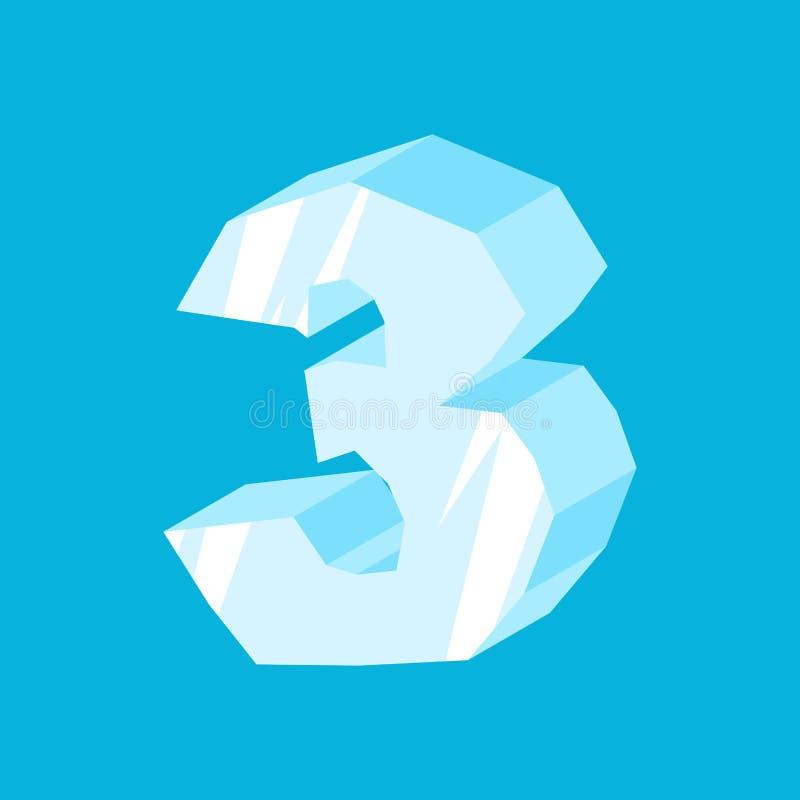 Is för nummer 3 Istappstilsort tre Djupfryst alfabetsymbol Iceber royaltyfri illustrationer