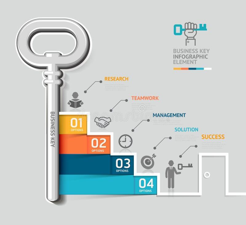 För nyckel- infographic templat trappuppgångbegrepp för affär royaltyfri illustrationer