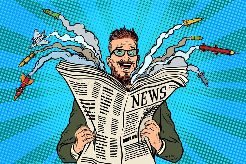 För nyheternapapper för Hipster lycklig militär tidning royaltyfri illustrationer