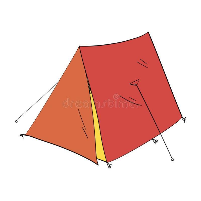 för objektbana för bakgrund clipping isolerad white Campa tält för att fiska stock illustrationer
