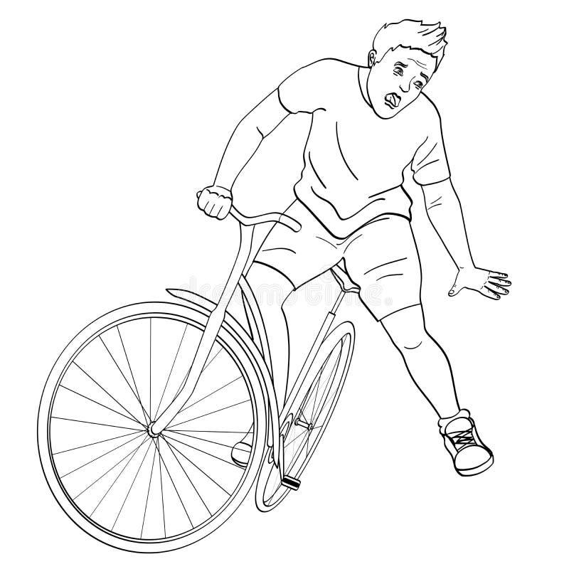 för objektbana för bakgrund clipping isolerad white Mannen faller av cykeln E vektor illustrationer