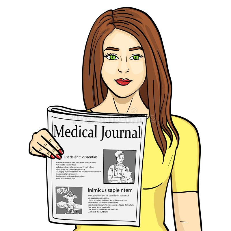för objektbana för bakgrund clipping isolerad white Ung flickashower som sträcker tidningen med nyheterna Journalistik medicinsk  stock illustrationer