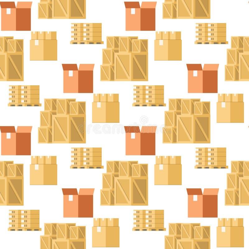 För objektsamling för lager förpackande sömlös modell royaltyfri illustrationer