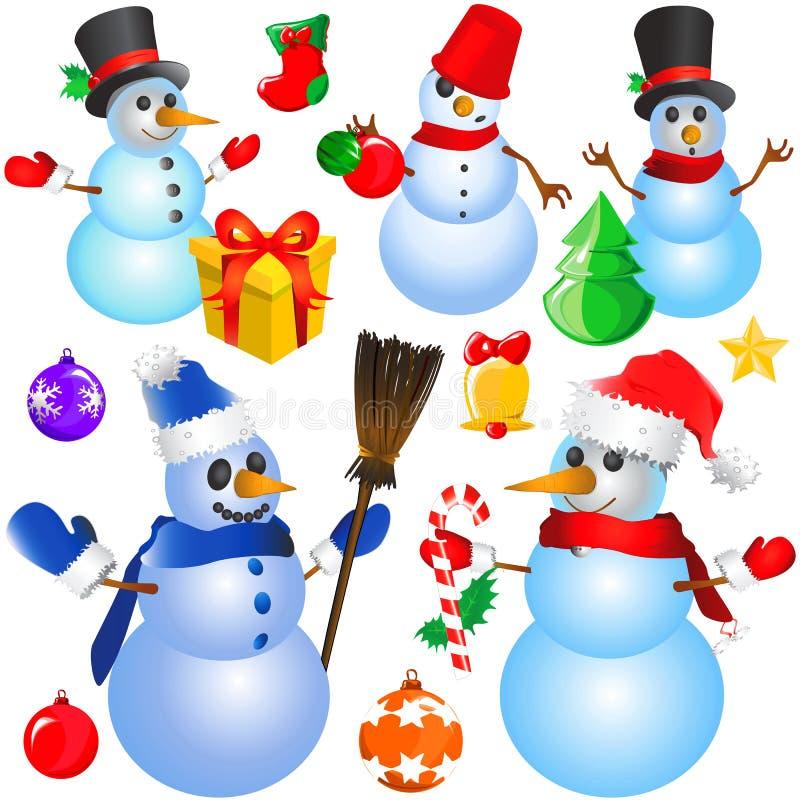 för objektsnowman för jul dekorativ vektor royaltyfri illustrationer