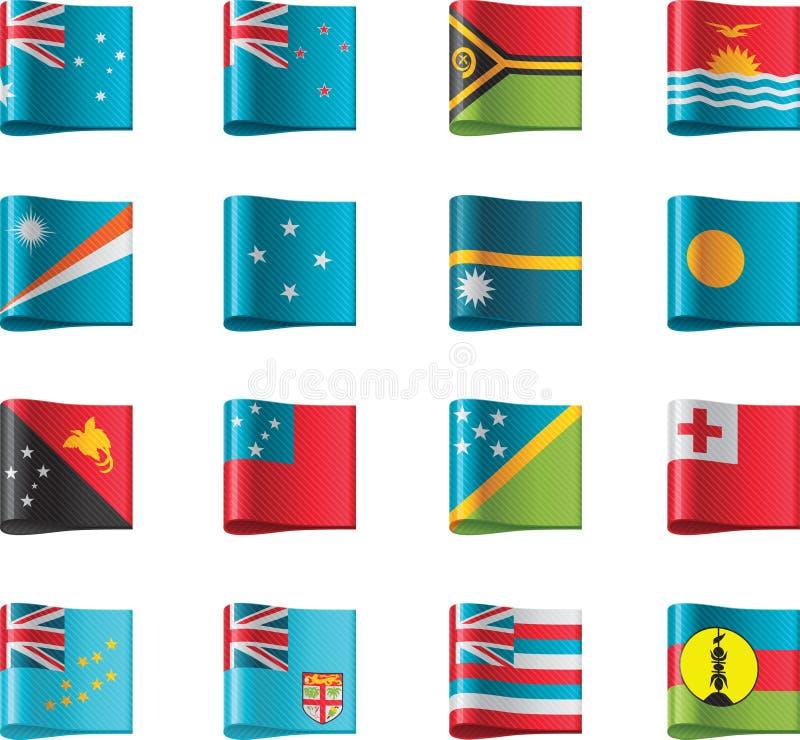 för oceania för 12 flaggor vektor del