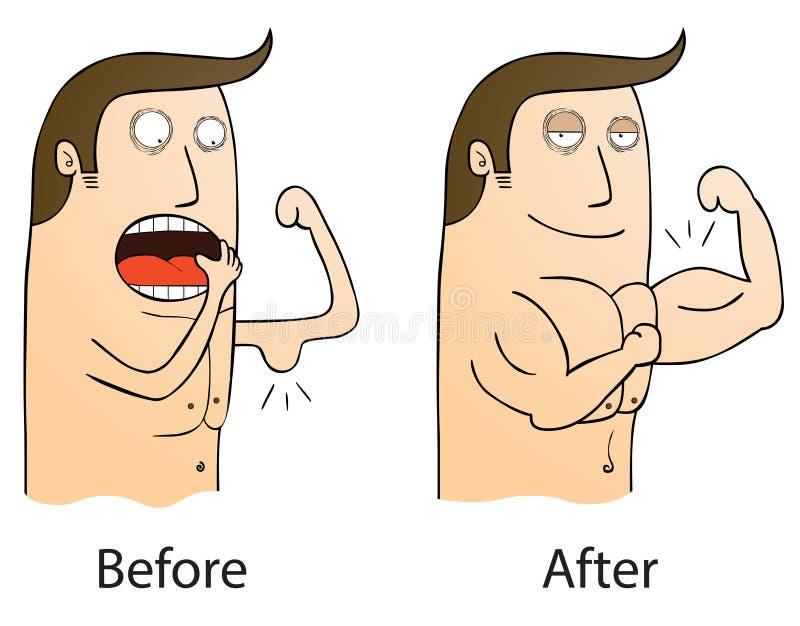 För och after stock illustrationer