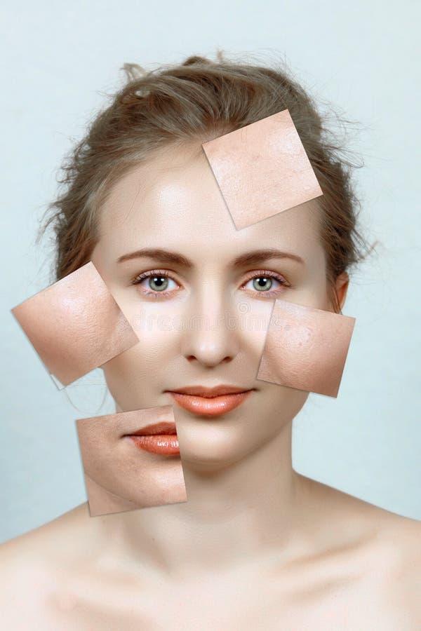 För och after av kvinna hud stock illustrationer