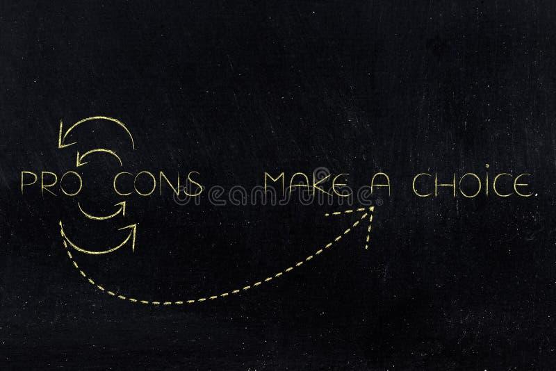 För- och nackdelar cirklar att leda som gör ett val stock illustrationer