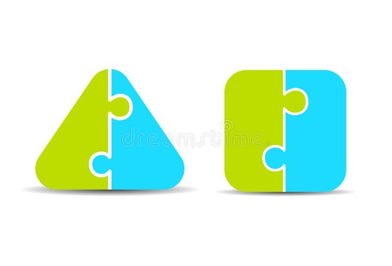 För- och nackdelar pusseldiagram för två del royaltyfri illustrationer
