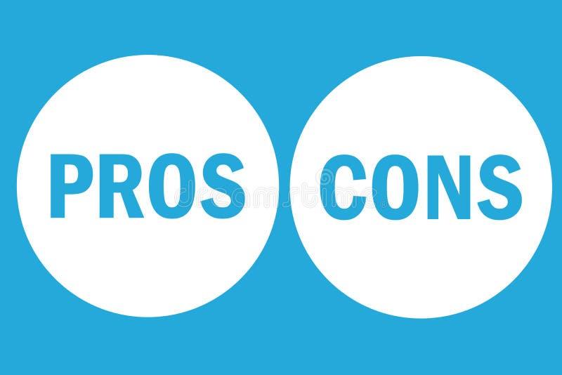 För- och nackdelbedömninganalys lämnade höger ordtext på vita cirkelknappar i enkel blå tom bakgrund stock illustrationer
