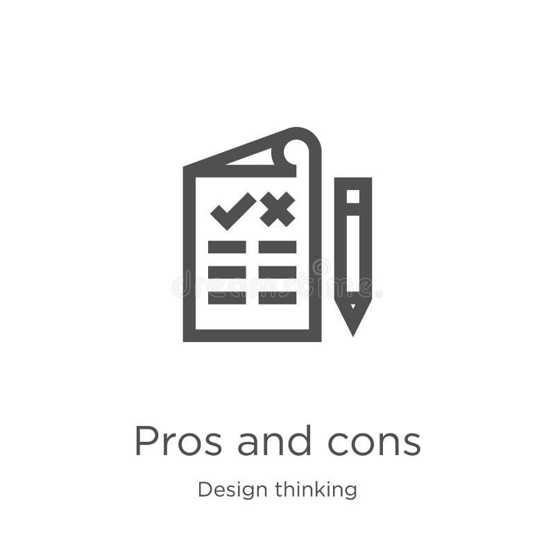 för- och nackdelsymbolsvektor från tänkande samling för design Tunn linje illustration för vektor för för- och nackdelöversiktssy royaltyfri illustrationer