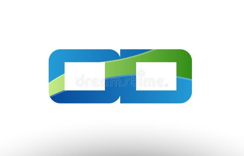 för od-nolla D för blå gräsplan design för symbol för kombination för logo för bokstav för alfabet stock illustrationer
