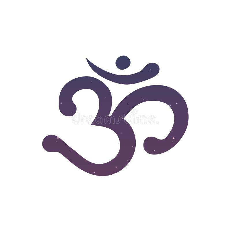 För ohmIndien för Om Aum buddhism för hinduism för mantra för yoga för meditation sumbol royaltyfri illustrationer