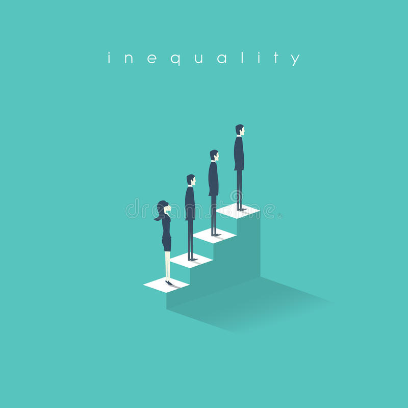 För ojämlikhetbegreppsvektor för illustration för man kvinna kontra i affär Skillnad och diskriminering i yrkesmässigt arbete stock illustrationer
