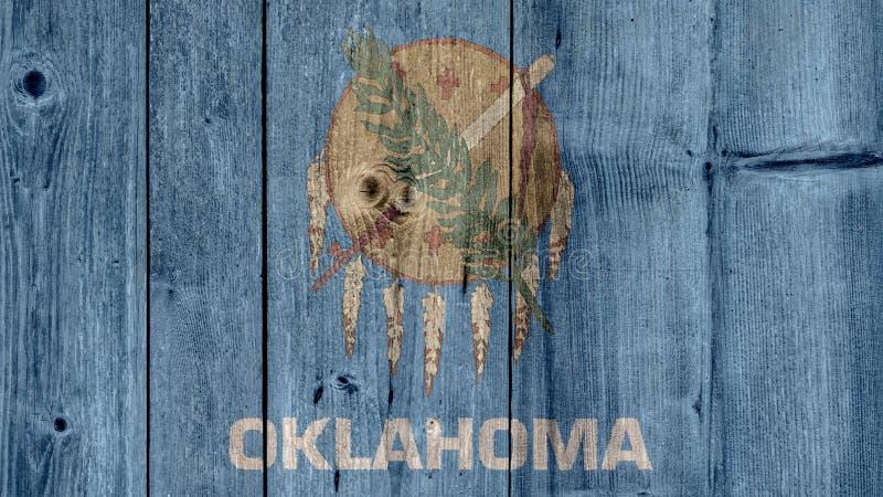 För Oklahoma för USA-stat trästaket flagga arkivbilder