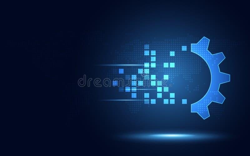 För omformningsabstrakt begrepp för futuristiskt blått kugghjul digital bakgrund för teknologi Konstgjord intelligens och stort d stock illustrationer