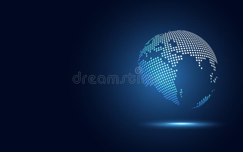 För omformningsabstrakt begrepp för futuristiskt jordklot digital bakgrund för teknologi Stor datajord och affärs- och investerin royaltyfri illustrationer