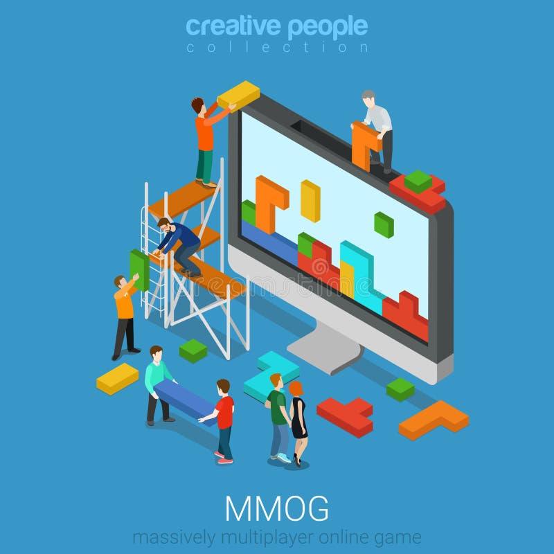 För online speldobbel för MMOG kraftigt isometrisk multiplayer lägenhet 3d vektor illustrationer