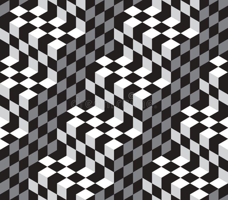 För optisk sömlös modell Illustion för kuber vektor royaltyfri illustrationer