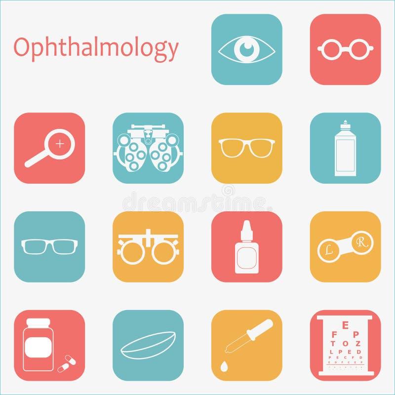 För optometrysymbol för vektor plan uppsättning med lång skugga Optiker oftalmologi, visionkorrigering, ögonprov, ögonomsorg, öga vektor illustrationer