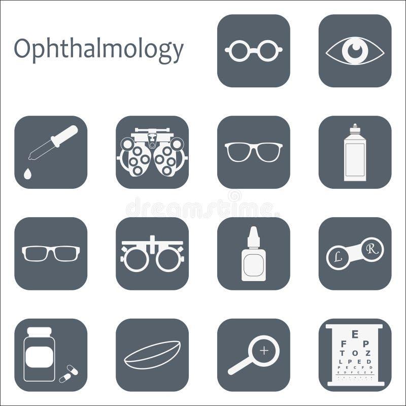 För optometrysymbol för vektor plan uppsättning med lång skugga Optiker oftalmologi, visionkorrigering, ögonprov, ögonomsorg, öga royaltyfri illustrationer
