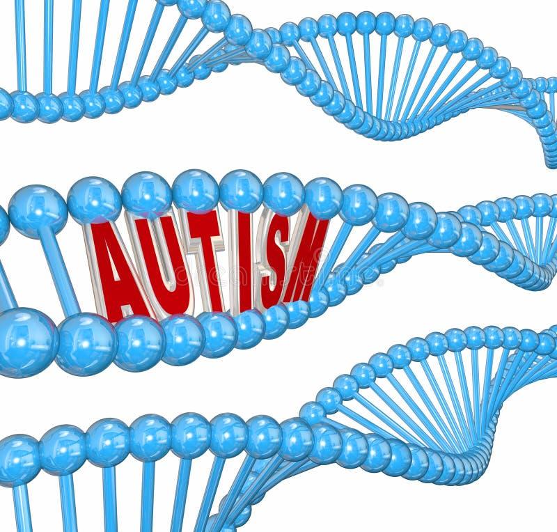 För ordDNA för autism 3d oordning Brain Learning Condition för gener stock illustrationer