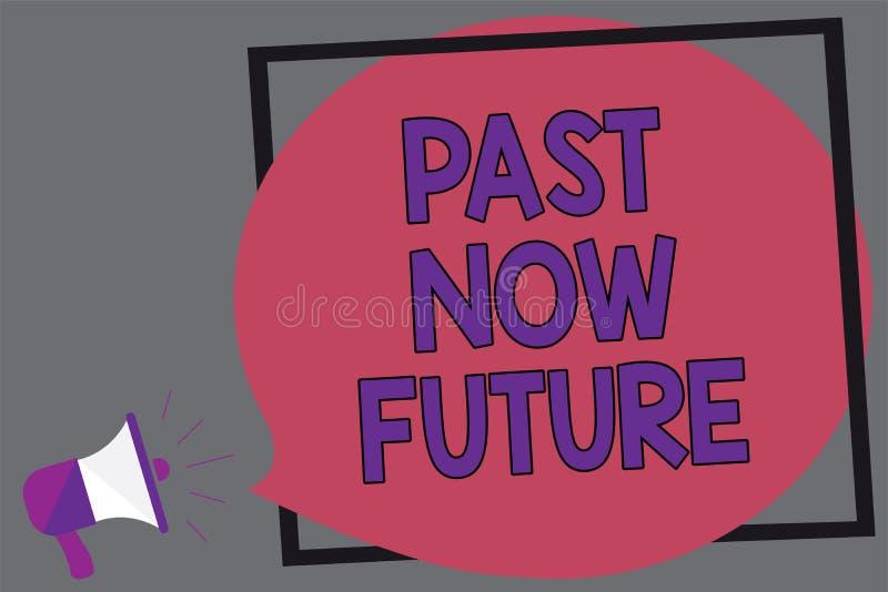 För ordhandstiltext för forntid framtid nu Affärsidéen för närvarande följa för sista gången åtgärdar den Destiny Memories Megaph stock illustrationer