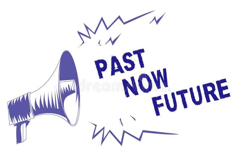 För ordhandstiltext för forntid framtid nu Affärsidéen för närvarande följa för sista gången åtgärdar den Destiny Memories Purple vektor illustrationer