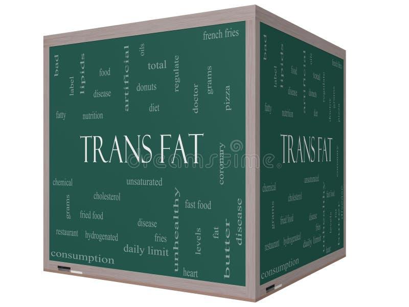 För ordmoln för trans. fett begrepp på en svart tavla för kub 3D stock illustrationer