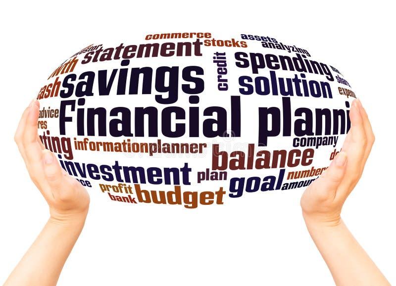 För ordmoln för finansiell planläggning begrepp för sfär för hand royaltyfri illustrationer