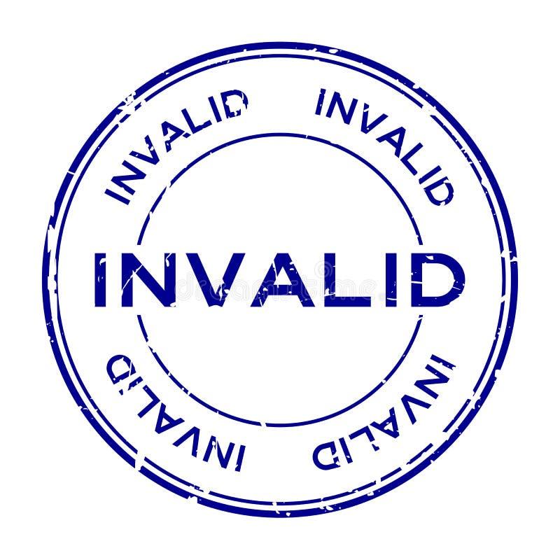 För ordrunda för Grunge blå ogiltig stämpel för skyddsremsa för gummi på vit bakgrund royaltyfri illustrationer