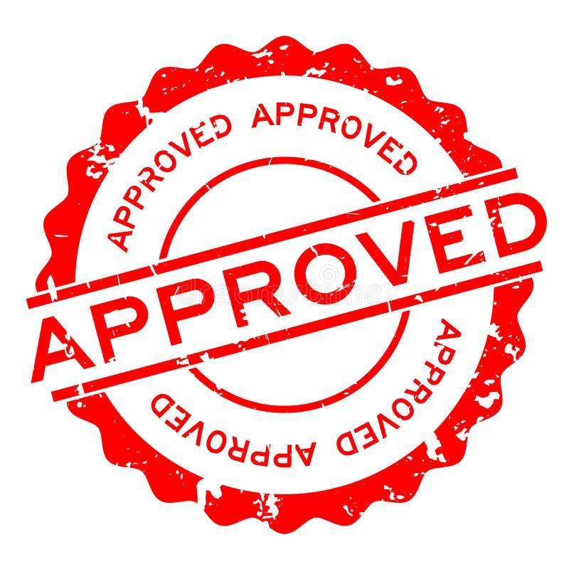 För ordrunda för Grunge röd godkänd stämpel för skyddsremsa för gummi på vit bakgrund royaltyfri illustrationer