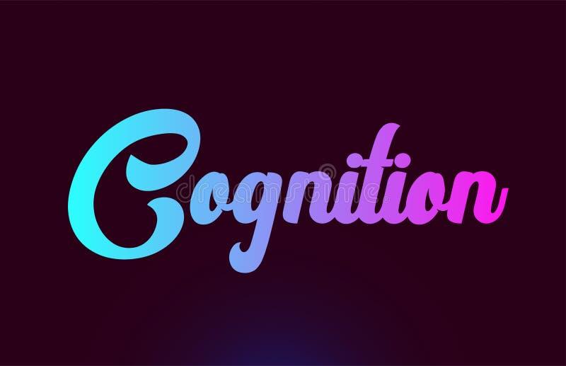 För ordtext för kognition rosa design för symbol för logo för typografi royaltyfri illustrationer