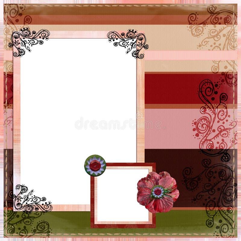 för orienteringssida för album bohemisk zigensk scrapbook stock illustrationer