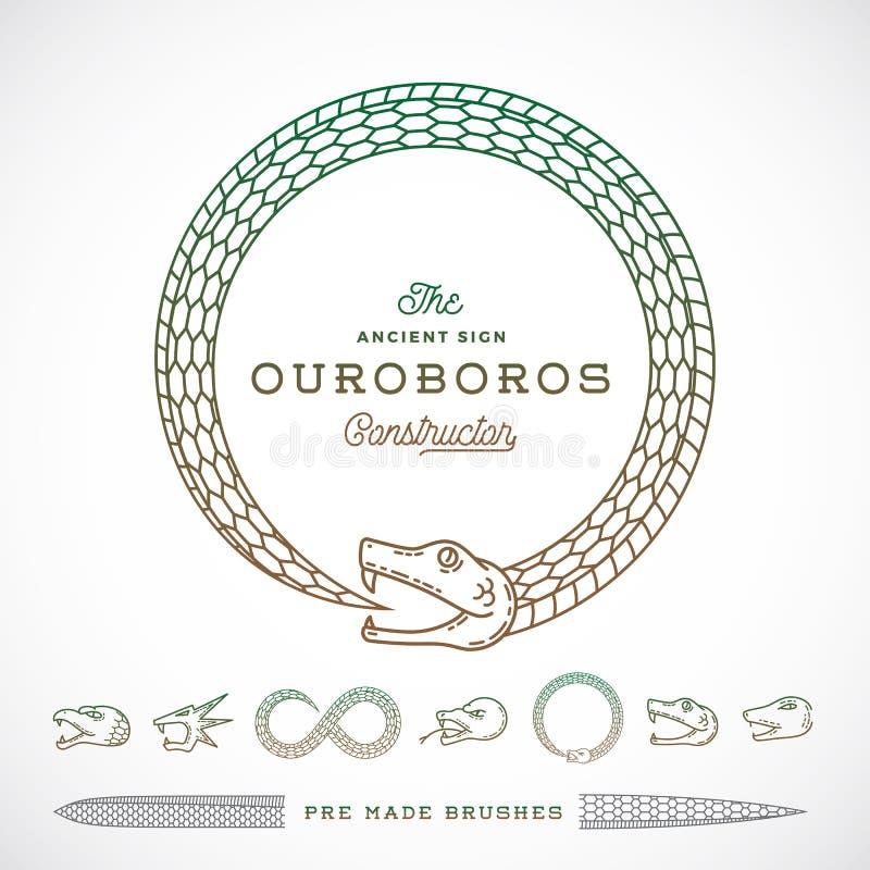 För Ouroboros för abstrakt vektor oändligt symbol orm, tecken eller en Logo Constructor i linjen stil royaltyfri illustrationer