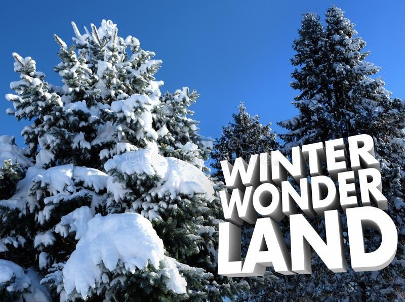 För Outoor för vinterunderland snöig träd plats utanför rekreation arkivfoton