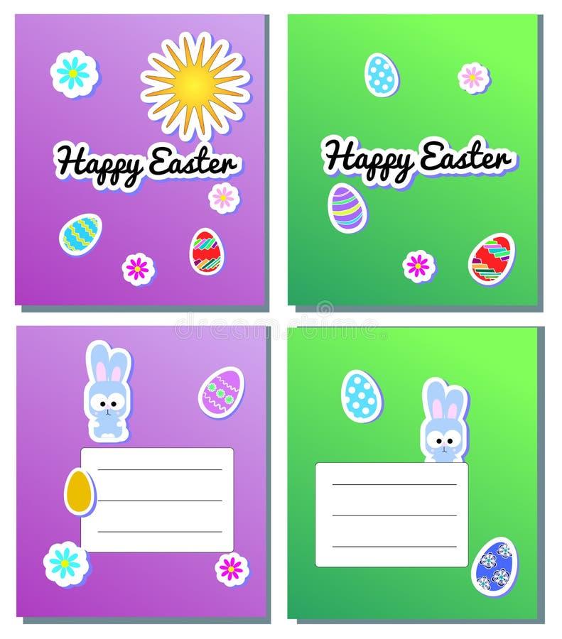 För påskkort för fastställd vektor lyckliga mallar med klistermärkeägg, kaniner, blommor, sol Illustration för vårhälsningkort oc stock illustrationer