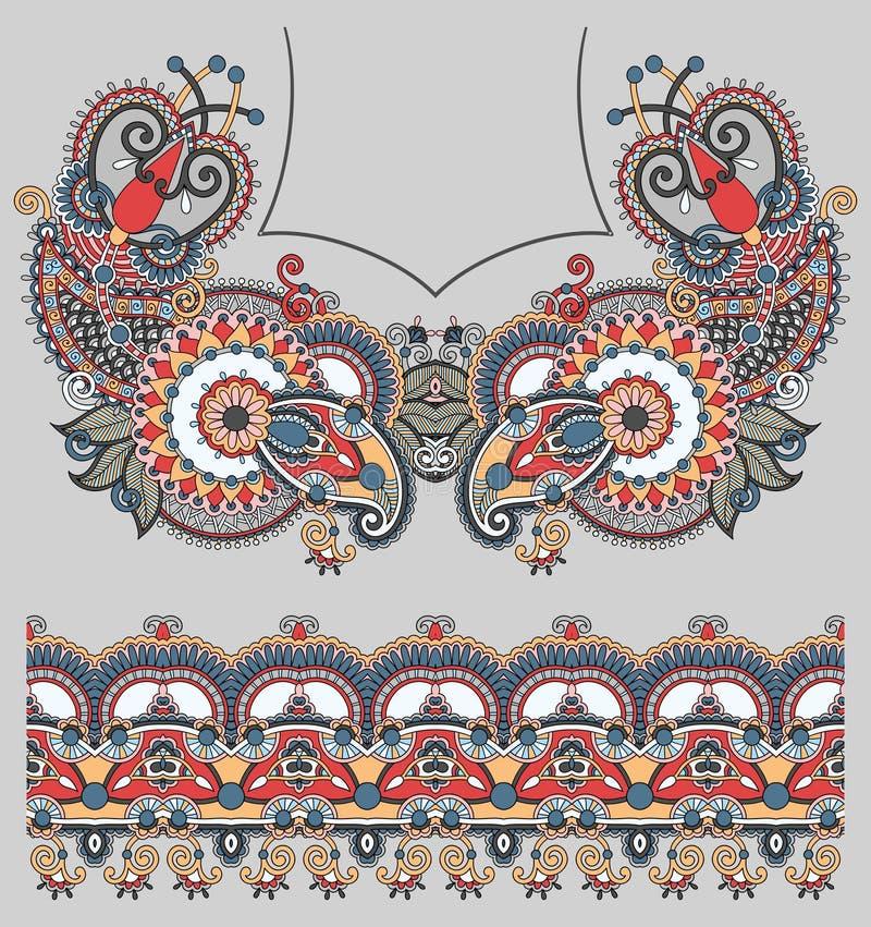För paisley för urringning utsmyckat blom- mode broderi royaltyfri illustrationer