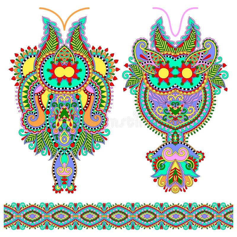 För paisley för urringning utsmyckat blom- mode broderi stock illustrationer