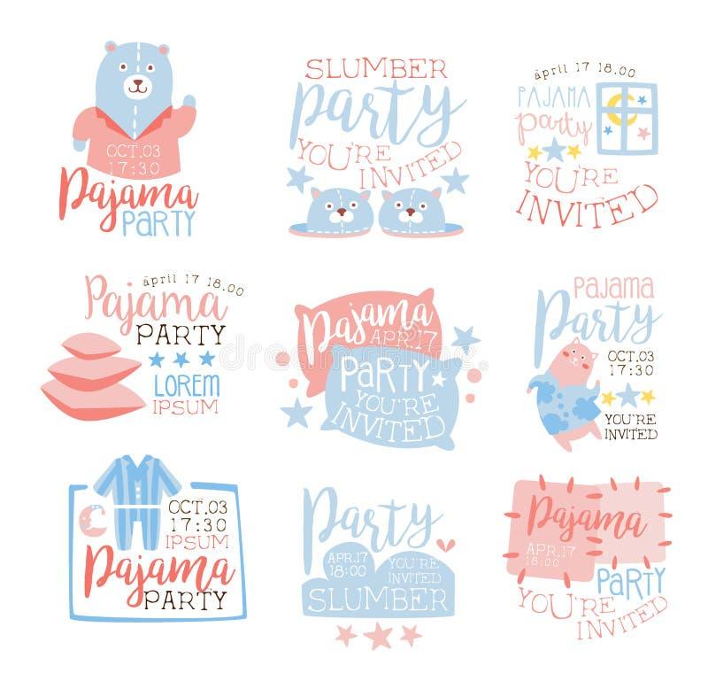 För Pajamaparti för rosa färger och för blått flickaktigt ungar för mallar för inbjudan fastställda inviterande för korten för Sl vektor illustrationer
