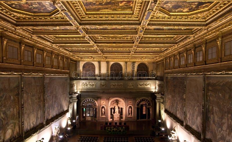 för palazzosalone för 500 de florence vecchio arkivfoto