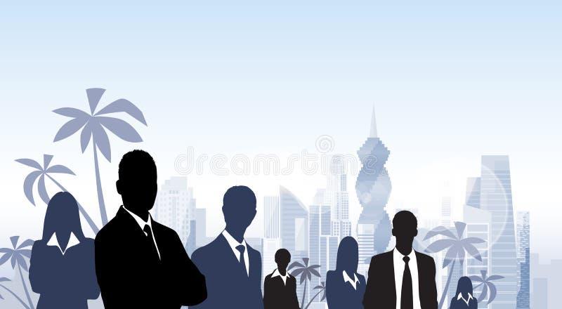 För Panama City för grupp för affärsfolk skyskrapa kontur stock illustrationer
