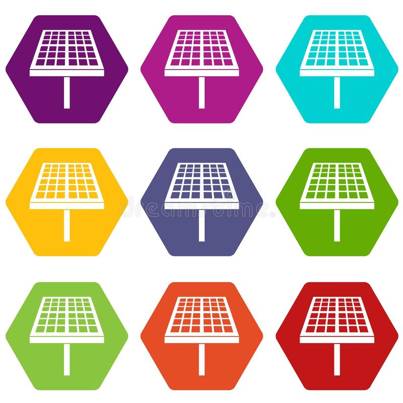 För panelsymbol för sol- energi hexahedron för färg för uppsättning royaltyfri illustrationer