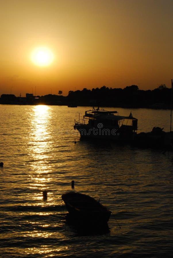 för panoramahav för liggande 3d solnedgång fotografering för bildbyråer