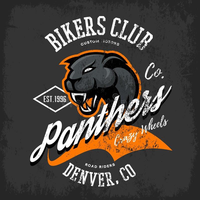 För pantercyklister för tappning amerikansk rasande design för vektor för tryck för utslagsplats för klubba på mörk bakgrund stock illustrationer