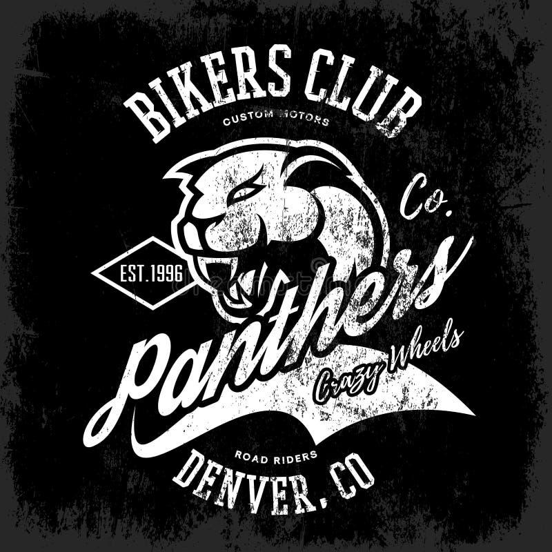 För pantercyklister för tappning amerikansk rasande design för vektor för tryck för utslagsplats för klubba på mörk bakgrund royaltyfri illustrationer