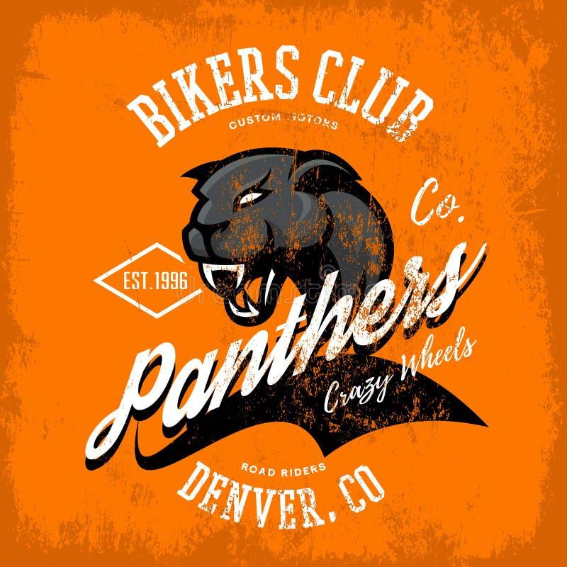 För pantercyklister för tappning amerikansk rasande design för vektor för tryck för utslagsplats för klubba på orange bakgrund vektor illustrationer