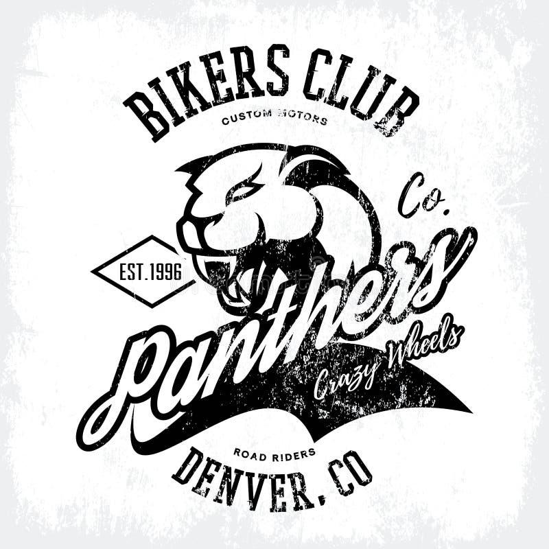 För pantercyklister för tappning som amerikansk rasande design för vektor för tryck för utslagsplats för klubba isoleras på vit b stock illustrationer