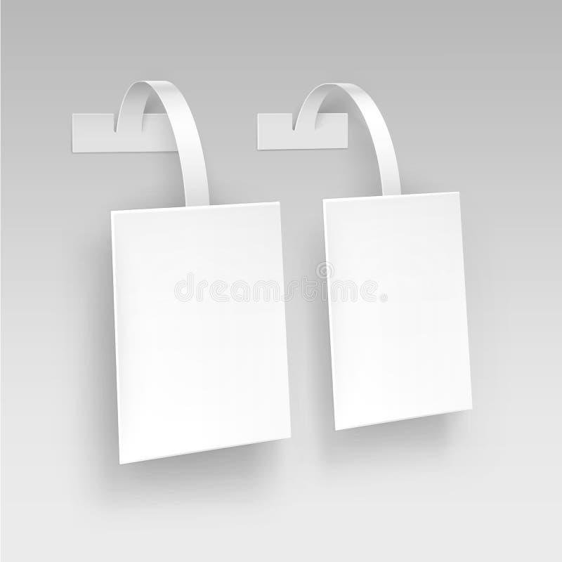 För Papper för vit fyrkant för vektor tom Wobbler för pris plast- advertizing på bakgrund vektor illustrationer