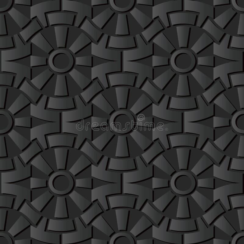 för papperskonst för mörker 3D blomma för geometri för kors för kugghjul för runda vektor illustrationer